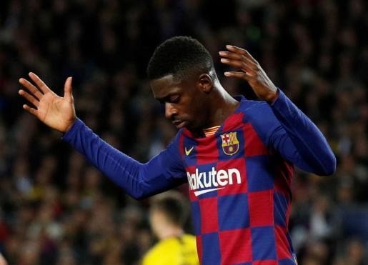 Imagen de Dembélé durante un partido de Champions con el Barcelona.