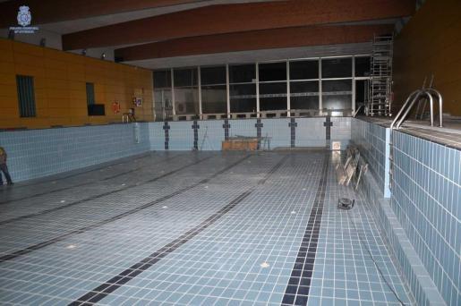 La piscina de Son Roca durante las obras.