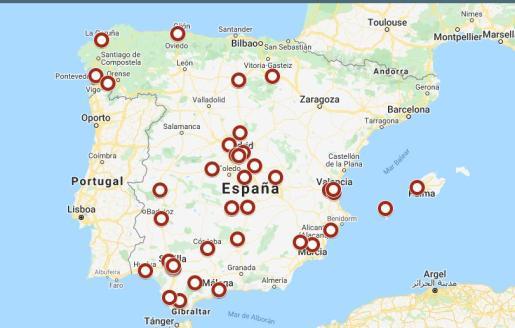 Mapa de radares en España.
