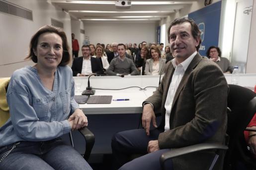 Cuca Gamarra, vicesecretaria de Política Social del Partido Popular, en Palma este jueves junto a Biel Company.