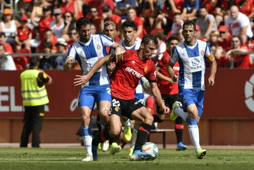 Imagen del partido entre Mallorca y el Espanyol disputado durante la primera vuelta de la Liga en el estadio de Son Moix.