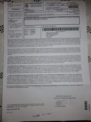 Imagen de la multa que ha recibido un conductor mallorquín procedente de Castellón.