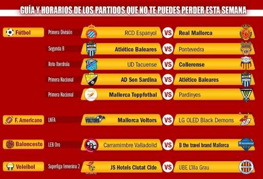 Imagen de los enfrentamientos de los partidos de los equipos mallorquines que compiten en las principales categorías nacionales.