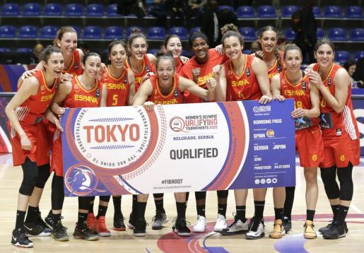Las jugadoras españolas celebran haber conseguido la plaza para Tokio 2020.