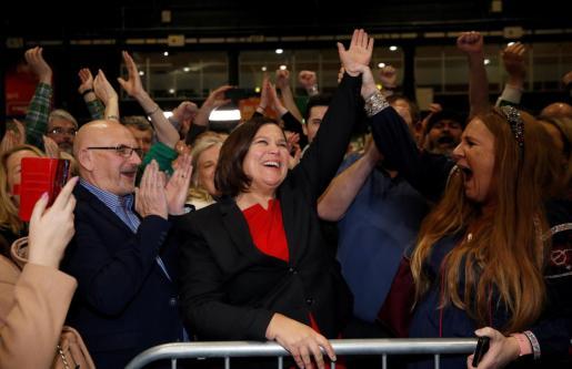 Mary Lou McDonald al conocer los resultados de las elecciones en Irlanda.
