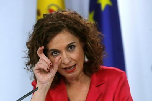 La ministra de Hacienda, María Jesús Montero, durante la rueda de prensa celebrada tras la reunión del Consejo de Ministros.