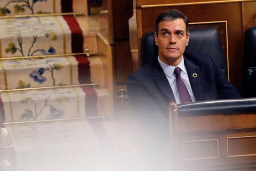 El presidente del Gobierno, Pedro Sánchez durante la sesión de control.