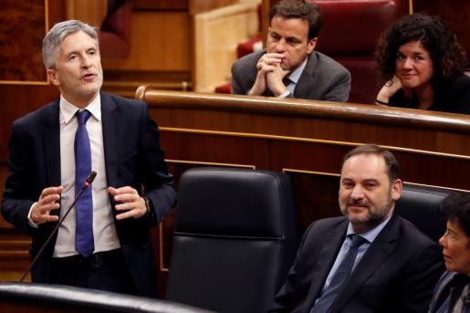 El ministro del Interior, Fernando Grande-Marlaska, en la sesión de control celebrada en el Congreso de los Diputados.