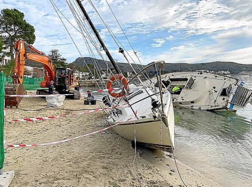 Iniciados los trabajos de descontaminación en la playa del Port de Pollença