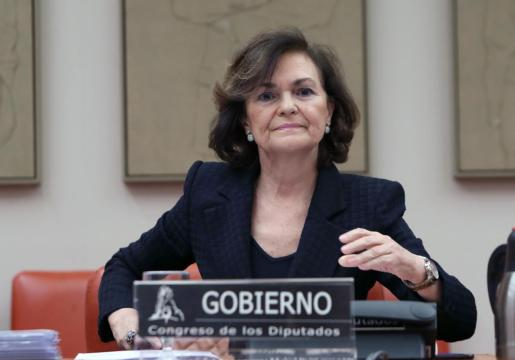 La vicepresidenta primera del Gobierno, Carmen Calvo, en una imagen tomada el pasado miércoles.