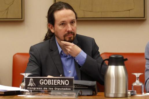 El vicepresidente segundo del Gobierno, Pablo Iglesias, durante su comparecencia a petición propia ante la Comisión de Derechos Sociales y Políticas Integrales de la Discapacidad del Congreso.