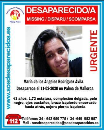 Imagen de la alerta de la desaparecida en Palma.