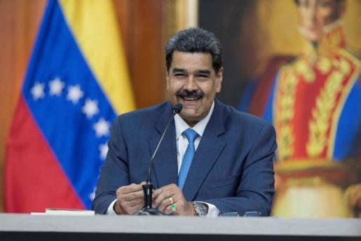 El presidente de Venezuela, Nicolás Maduro, durante una rueda de prensa con medios internacionales.