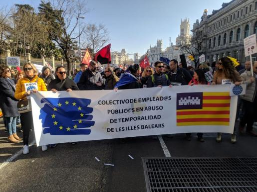 Trabajadores de Baleares durante la manifestación en Madrid.