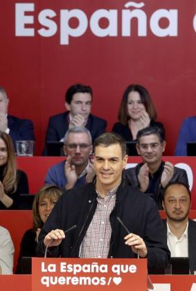 El presidente del gobierno y Secretario General del PSOE, Pedro Sánchez, durante su intervención en el Comité Federal del PSOE.