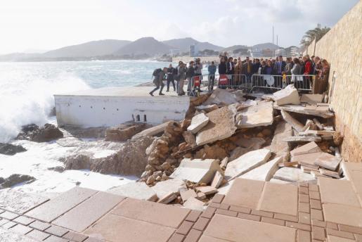 El presidente del Gobierno, Pedro Sánchez, visitó los daños causados por 'Gloria' en algunos municipios de Mallorca como Cala Rajada.