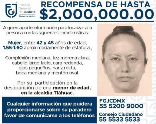 Reproducción de un cartel difundido por la Fiscalía General de Justicia (FJG) que muestra el retrato robot de la mujer que se llevó del colegio a Fátima, una niña de 7 años.