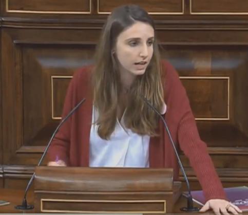 Lucía Muñoz, diputada de Podem Balears en el Congreso durante la intervención que ha realizado este jueves.