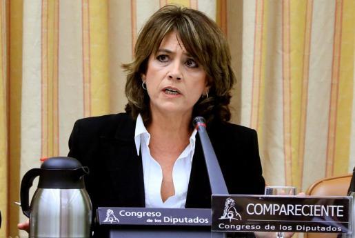 La exministra de Justicia, Dolores Delgado, durante su comparecencia este jueves ante la Comisión de Justicia del Congreso, último trámite antes de ser nombrada oficialmente como fiscal general del Estado.