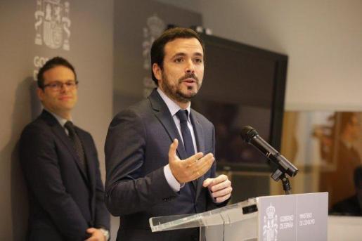 Alberto Garzón, este viernes durante su comparecencia.