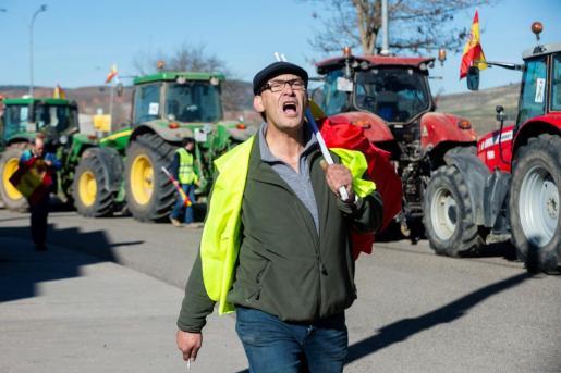 Agricultores y ganaderos, durante unas protestas en Guadalajara.