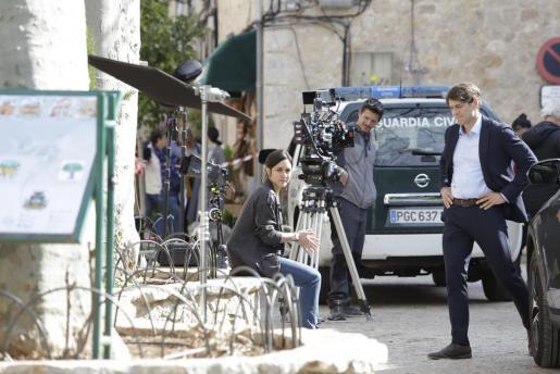 La actriz Megan Montaner, durante sus primeras escenas en Mallorca para 'La Caza'.