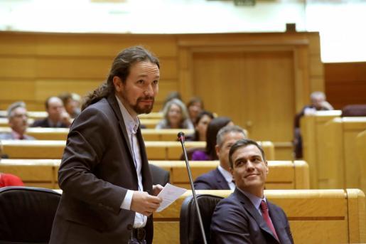 Pablo Iglesias, durante el pleno del Senado.