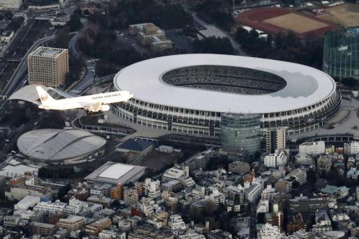 Vista aérea del Estadio Nacional de Tokio, escenario de la inauguración de los Juegos Olímpicos de 2020.