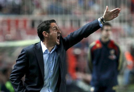 El entrenador del Sevilla Manolo Jiménez, durante el partido de Liga ante el Xerez.