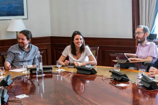 Imagen de archivo de Pablo Iglesias, Irene Montero y Pablo Echenique.