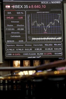 Vista del panel del Ibex 35 en el parqué de la Bolsa de Madrid este viernes.