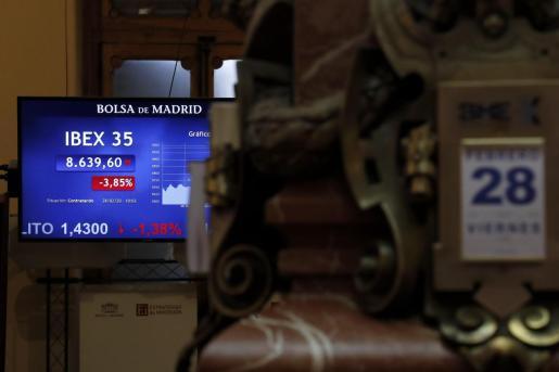 Vista general del parqué de la Bolsa de Madrid.
