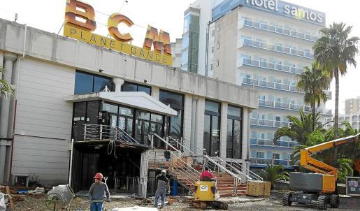Imagen de las obras que se llevan a cabo en las instalaciones de BCM, la discoteca más emblemática de Magaluf.