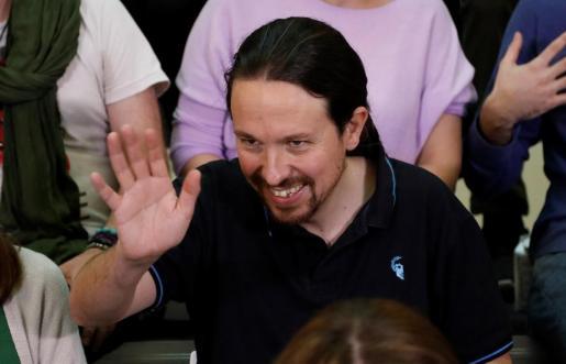 El vicepresidente segundo del Gobierno y secretario general de Podemos, Pablo Iglesias, este domingo durante el acto de presentación de su candidatura a la Tercera Asamblea Ciudadana de la formación.