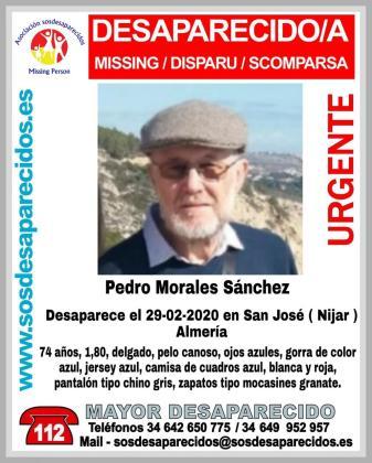 Pedro Morales Sánchez ha desaparecido en una localidad de Almería.