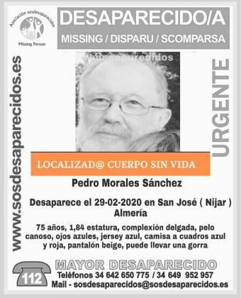 Localizado sin vida el cuerpo de Pedro Morales Sánchez.