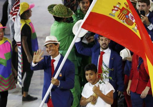 Rafael Nadal, en el desfile de la ceremonia de inauguración de los Juegos Olímpicos de Tokio 2020.