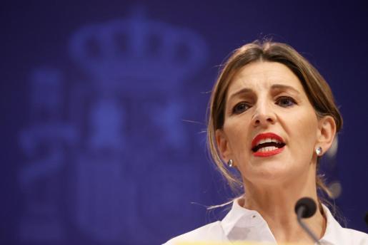 La ministra de Trabajo y Economía Social, Yolanda Díaz, durante una rueda de prensa.