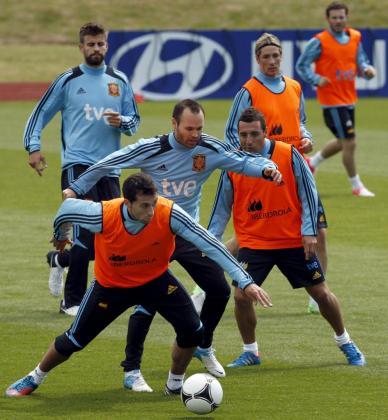Los jugadores de la selección española de fútbol Gerard Piqué (i, al fondo), Álvaro Arbeloa (2i), Andrés Iniesta (3i), Santiago Cazorla (3d), Fernando Torres (2d) y Juan Mata (d, al fondo), durante el entrenamiento del combinado español.