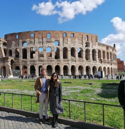 Los mallorquines Francisco Martínez e Irene Peguero en Roma.