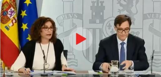 María Jesús Montero y Salvador Illa, durante la rueda de prensa de este martes.
