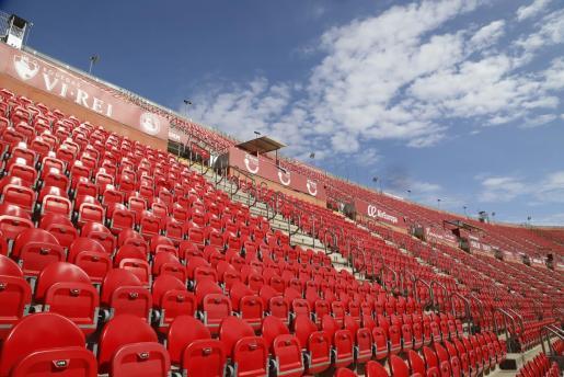 Imagen de las gradas del estadio de Son Moix, que acogerá el próximo sábado acogerá a puerta cerrada el Mallorca-Barcelona.