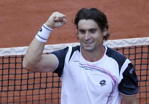 Ferrer celebra su victoria ante Murray.