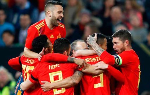 Imagen de los futbolistas de la selección española de fútbol.