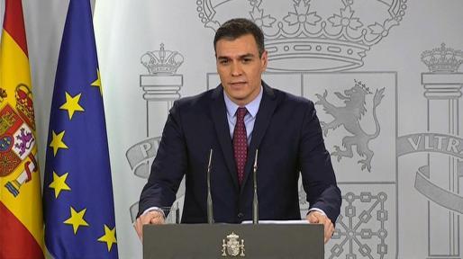 Pedro Sánchez en su comparecencia en La Moncloa -sin la presencia de los medios de comunicación- tras el Consejo de Ministros.