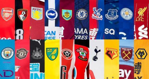En la imagen, las camisetas de los equipos de la Premier League.