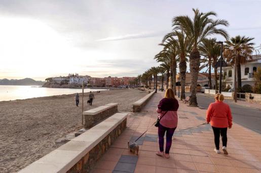 Mujeres pasean a sus perros en el paseo marítimo de la playa de Calabardina, Águilas, Murcia, este jueves.