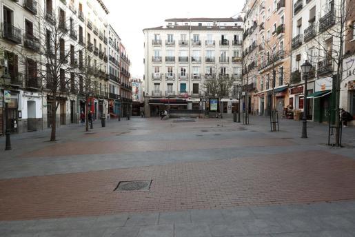 Aspecto actual de una céntrica plaza de Madrid.