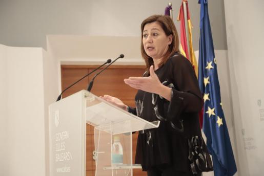 Francina Armengol durante una rueda de prensa el pasado jueves 12 de marzo.