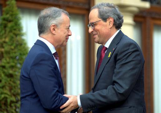 El presidente de la Generalitat de Cataluña, Quim Torra, con el lehendakari, Iñigo Urkullu.